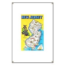 New Jersey Map Greetings Banner