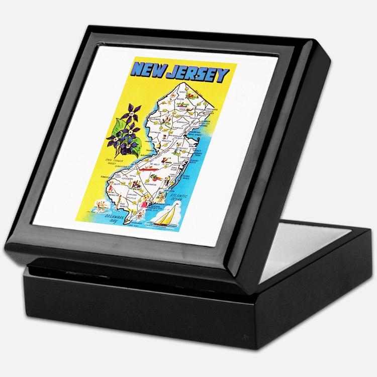 New Jersey Map Greetings Keepsake Box