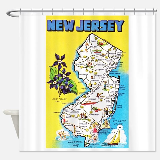 New Jersey Map Greetings Shower Curtain