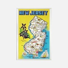 New Jersey Map Greetings Rectangle Magnet