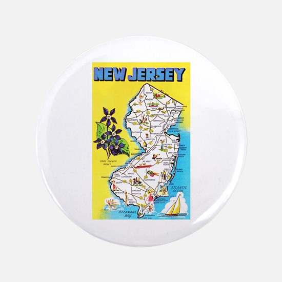 """New Jersey Map Greetings 3.5"""" Button"""