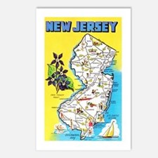 New Jersey Map Greetings Postcards (Package of 8)