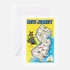 New Jersey Map Greetings Greeting Card