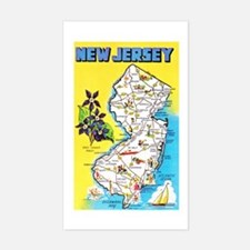 New Jersey Map Greetings Decal