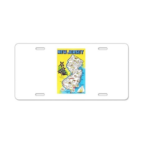 New Jersey Map Greetings Aluminum License Plate By W2arts