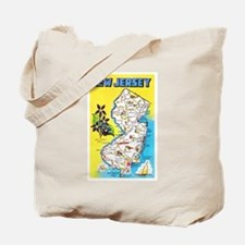 New Jersey Map Greetings Tote Bag
