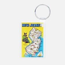New Jersey Map Greetings Keychains