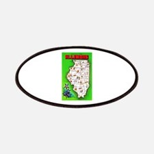 Illinois Map Greetings Patches