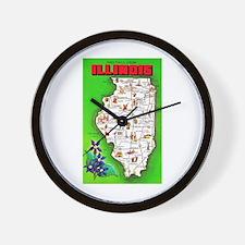 Illinois Map Greetings Wall Clock