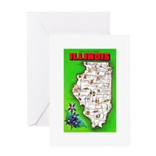 Illinois Map Greetings Greeting Card