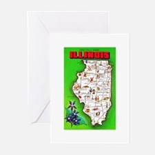 Illinois Map Greetings Greeting Cards (Pk of 10)