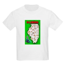Illinois Map Greetings T-Shirt