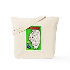 Illinois Map Greetings Tote Bag