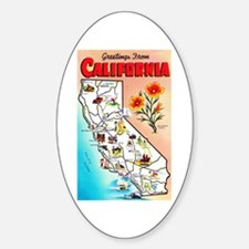 California Map Greetings Sticker (Oval)