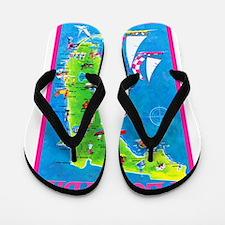 Florida Map Greetings Flip Flops