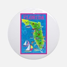 Florida Map Greetings Ornament (Round)