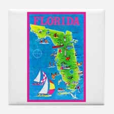 Florida Map Greetings Tile Coaster