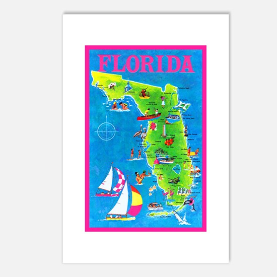 Florida Map Greetings Postcards (Package of 8)