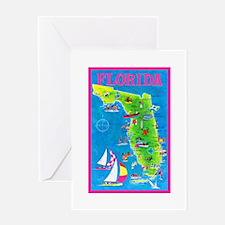 Florida Map Greetings Greeting Card