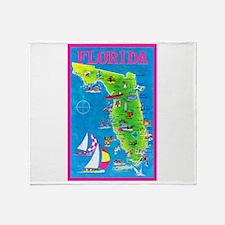 Florida Map Greetings Throw Blanket