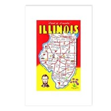 Illinois Map Greetings Postcards (Package of 8)