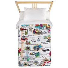 Indiana Map Greetings Twin Duvet