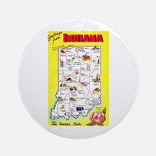Indiana Map Greetings Ornament (Round)