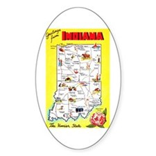 Indiana Map Greetings Decal