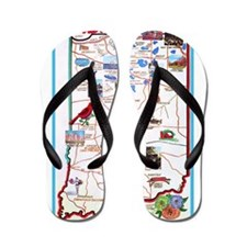 Indiana Map Greetings Flip Flops