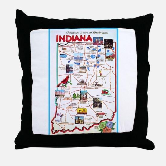 Indiana Map Greetings Throw Pillow