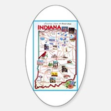 Indiana Map Greetings Sticker (Oval)