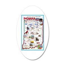 Indiana Map Greetings Wall Decal