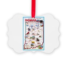 Indiana Map Greetings Ornament