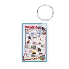 Indiana Map Greetings Keychains