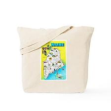 Maine Map Greetings Tote Bag