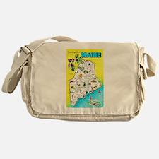Maine Map Greetings Messenger Bag