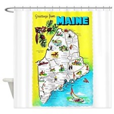 Maine Map Greetings Shower Curtain