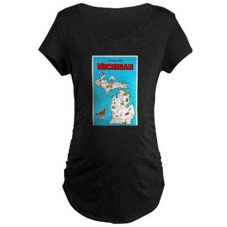 Michigan Map Greetings Maternity Dark T-Shirt