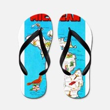 Michigan Map Greetings Flip Flops