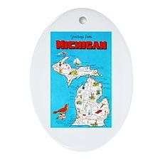 Michigan Map Greetings Ornament (Oval)