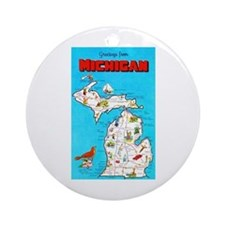 Michigan Map Greetings Ornament (Round)