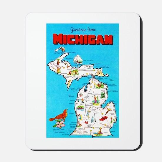 Michigan Map Greetings Mousepad