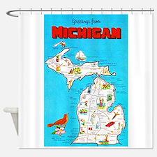 Michigan Map Greetings Shower Curtain
