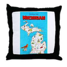 Michigan Map Greetings Throw Pillow