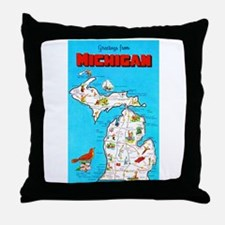 Michigan Map Greetings Throw Pillow