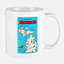 Michigan Map Greetings Mug