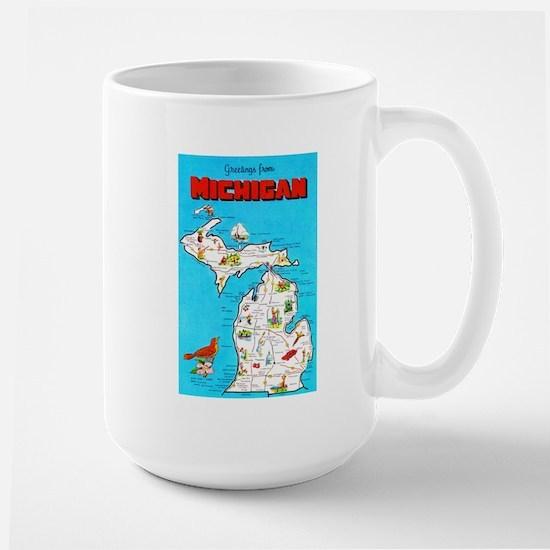 Michigan Map Greetings Large Mug