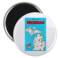 Michigan Map Greetings Magnet