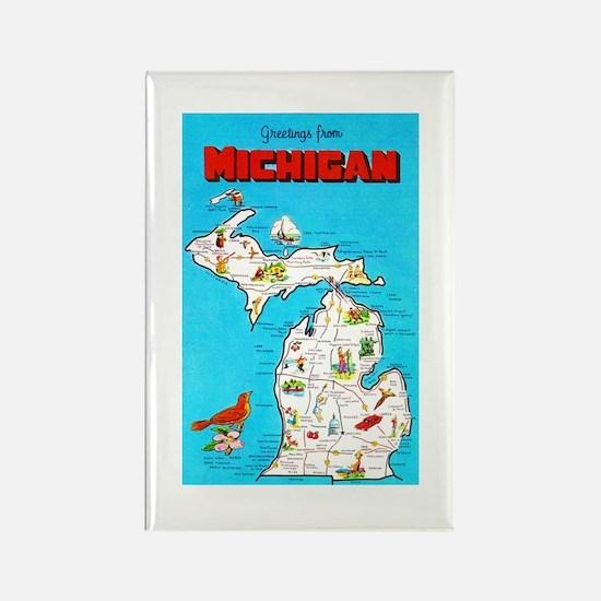 Michigan Map Greetings Rectangle Magnet