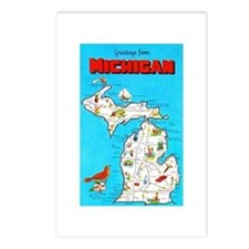 Michigan Map Greetings Postcards (Package of 8)